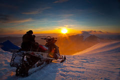 The snowmobile on a beautiful winter landscape Royalty Free Stock Image