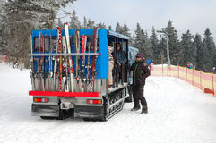 Snowmobile bus Stock Images