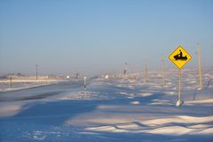 Snowmobile crossing sign. Stock Photos