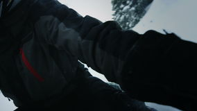 Snowmobile Driver Getting Stuck in Snow stock footage