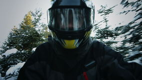 Snowmobile Driver's Face Closeup stock footage