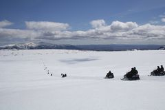 Snowmobile en glaciar Imagen de archivo