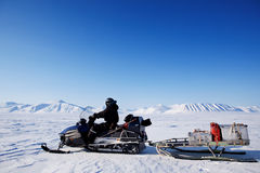 Snowmobile expedition royalty free stock photos