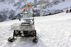 Snowmobile Fellhorn w zimie Alps, Niemcy Fotografia Stock