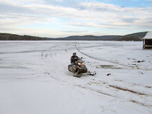 Snowmobile on Fourth Lake Stock Images