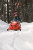 Snowmobile Girl. Young girl riding child size snowmobile Stock Photos
