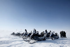 Snowmobile Group Royalty Free Stock Photos