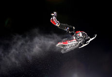 Snowmobile jump. Royalty Free Stock Photography
