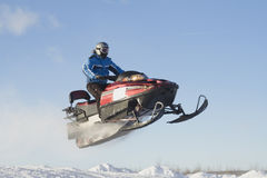 Snowmobile Jump in Race Stock Photos