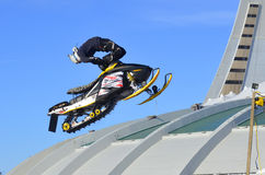 Snowmobile jumping Royalty Free Stock Photos