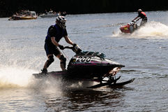 Snowmobile na água Fotografia de Stock