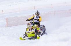 Snowmobile na Kamchatka górach Obraz Royalty Free