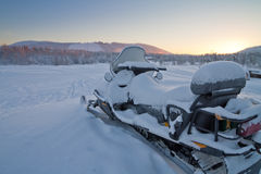 Snowmobile parked in Levi, Finland royalty free stock photos