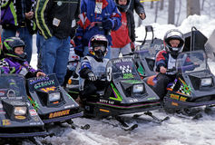 Snowmobile race Stock Photography