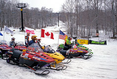 Snowmobile race Royalty Free Stock Images