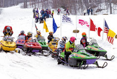 Snowmobile race. Haystack Mountain, Vermont Royalty Free Stock Photography