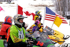 Snowmobile race Royalty Free Stock Image