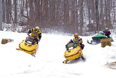 Snowmobile race Royalty Free Stock Photography