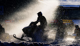 Snowmobile racing Stock Photo