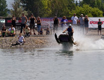Snowmobile Racing on Water in summer Royalty Free Stock Photos
