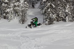 Snowmobile Reiter Stockfoto