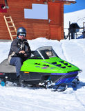 Snowmobile rider. Image of a snowmobile rider Stock Image