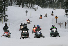Snowmobile road Royalty Free Stock Photos