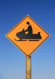 Snowmobile road sign Stock Photos