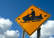 Snowmobile sign Stock Photos