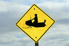 Snowmobile sign. Stock Photo