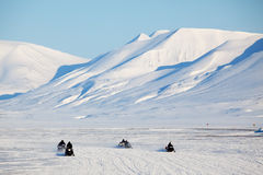 Snowmobile in Svalbard stock images