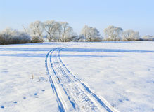Snowmobile trace Stock Photo
