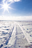 Snowmobile traces. Stock Images
