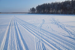 Snowmobile traces on snow Stock Image