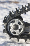 Snowmobile Track Against Snow Stock Photography