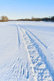 Snowmobile track Stock Photo