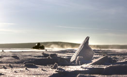 Snowmobile track in snow Stock Photography
