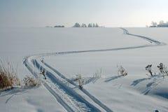 Snowmobile tracks. Go through a winter scene Stock Images