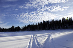 Snowmobile tracks on frozen lake Royalty Free Stock Photos