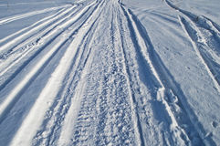 Snowmobile trail Royalty Free Stock Photography