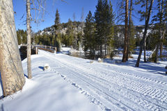 Snowmobile trail leads over a bridge Royalty Free Stock Image
