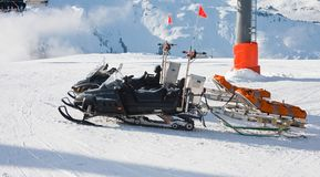 Snowmobile and trailer Stock Images