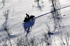 Snowmobile w pustkowiu Fotografia Royalty Free