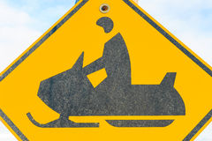 Snowmobile warning sign Royalty Free Stock Photography