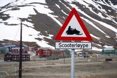 Snowmobile warning sign, Longyearbyen, Svalbard Royalty Free Stock Photos