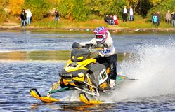 Snowmobile watercross Royalty Free Stock Photography