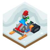 Snowmobile Winter Activity Vacation Journey Flat Design Isometric 3d Vector Illustration Stock Image