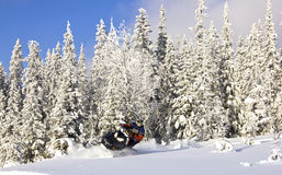 Snowmobile in winter landscape. Driving a snowmobile in the forest of sweden Royalty Free Stock Photo