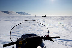 Snowmobile in Winter Landscape stock photography