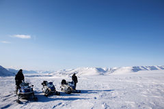 Snowmobile-Winter-Landschaft Stockfotos